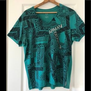 Armani Exchange A/E teal green v neck branded tee